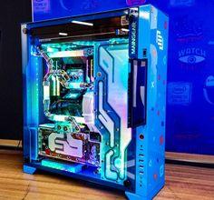 Builds at Chicago build w/ RGB tubes, 2 EK water cooled 1080 Tis, CPU block, + Apex rad. Gaming Desk Setup, Computer Setup, Pc Setup, Computer Case, Gaming Computer, Gaming Pc Build, Computer Build, Gaming Pcs, Pc Gamer