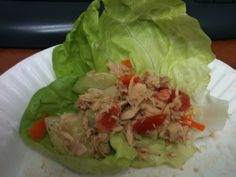 Tuna Veggie Lettuce Cups - 1 can of albacore tuna, 1 teaspoon spicy brown mustard, 1/2 of a Roma Tomato, 1 Small Sweet Orange Pepper, 4 slices of cucumber and 3 Butter Lettuce Leaves. Excellent low calorie high protein lunch pick me up!  155 Calories  22 grams of protein