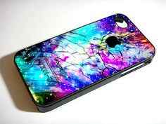 Galaxy Nebula Cracked Out Broken Glass  iPhone 4 by CustomCazeShop