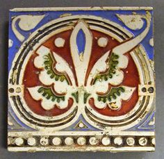 "Craven Dunnill majolica glazed relief moulded plastic clay tile, Anthemium border design, 6"" square, c1880."