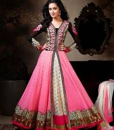 Buy pink embroidered, Net semi-stitched salwar with dupatta anarkali-salwar-kameez online