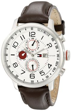 Amazon.com: Tommy Hilfiger Men's 1790858 Stainless Steel Watch with Brown Leather Band: Tommy Hilfiger: Clothing