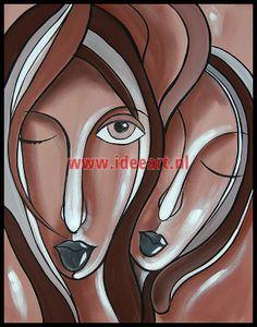 twee abstracte gezichten