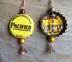 Pacifico Beer Bottle Cap Earrings by Tiny Mayors Cap Art : Happy Mango Beads Blog
