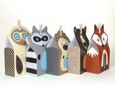 Cute printable woodland animal gift bags