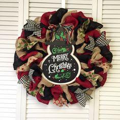 "22"" Merry Christmas Wreath, Snowman Wreath, Faux Chalkboard Wreath, Xmas Wreath, Burlap Wreath - pinned by pin4etsy.com"