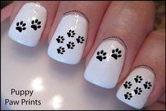 Paw Print Nail Decal Dog paw Design Nail Art by DowningStDesign Animal Nail Designs, Toe Nail Designs, Sky Nails, Shellac Nails, Paw Print Nails, Galaxy Nail Art, Pedicure Nail Art, Super Nails, Nail Decals