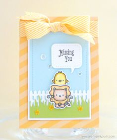 Pretty Pink Posh. I created a sweet and simple little scene using some of my favorite critters. The new Stitched Speech Bubbles are perfect for adding sentiments to your cards. This little scene was created using the Stitched Duo 2 rectangle, along with the Picket Fence and my favorite grass die by Lawn Fawn. To finish off the scene I added some flowers from the new Summer Flowers Mix, a sprinkling of Sparkling Clear sequins and then some yellow chevron ribbon.