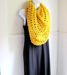 Cowl Circle Scarf - Mustard Citrine Yellow Chunky Extra Large