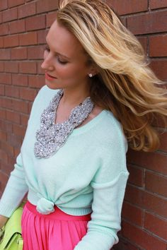 pink maxi skirt, mint sweater, statement necklace, yellow clutch bag