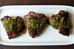 Chimichurri lamb chops. An irresistible combo of cilantro, parsley, mint and garlic.