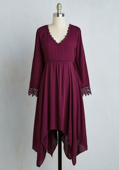 Wisp Reminds Me Dress in Cranberry - Red, Solid, Casual, Boho, A-line, 3/4 Sleeve, Fall, Woven, Better, Mid-length, Variation