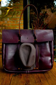 briefcase with built in fedora holder