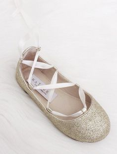 Infant & Toddler girl shoes -PINK fine glitter ballerina flats with satin ribbon lace up ,Kids Shoes- Kailee P