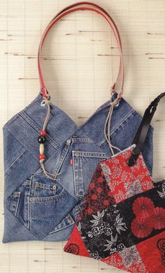 PATTERN Recycled Denim Jeans Purse or Bag by by InventiveDenim,