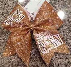 My Bow is My Crown Gold Glitter Cheer Bow