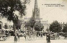 Fontenay-le-Comte (Vendée) - Le Marché et le clocher de l'Eglise