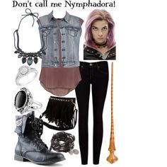 """Nymphadora Tonks :)"" by ? Harry Potter Kostüm, Harry Potter Outfits, Disney Themed Outfits, Disney Bound Outfits, Inspired Outfits, Casual Cosplay, Cosplay Outfits, Harry Potter Kleidung, Badass Outfit"