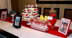 So many great ideas....oreo cookies, red hots, cupcakes, photo frames in black and red!