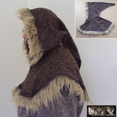 Deluxe Medieval Hood With Fur Trim - Black Brown or Green
