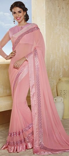 156210, Party Wear Sarees, Embroidered Sarees, Chiffon, Mirror, Lace, Pink and Majenta Color Family