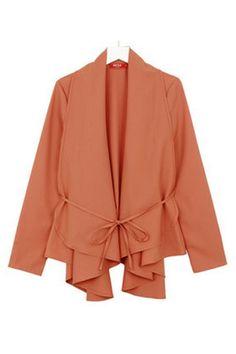 Long Sleeve Irregular Hem Self-ties Coat