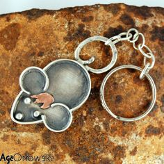 mouse with copper hair  - silver keychain, silver jewelery