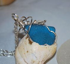 Turqoise Sea Glass Embossed Wire Wrapped by kathyarterburn on Etsy, $50.00