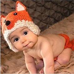 Kalevel Cute Cartoon Fox Style Infant Newborn Baby Girl Boy Crochet Beanie Hat Clothes Baby Photograph Props by Kalevel: Amazon.it: Prima infanzia