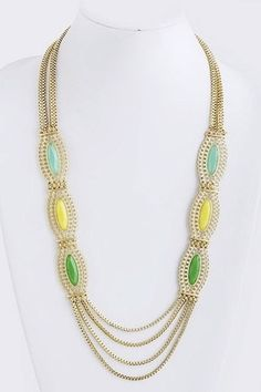 Long Multi Strand Jewels and Chain Necklace - Mint/Yellow/Green
