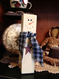 Primitive Country Jumbo Clothespin Snowman