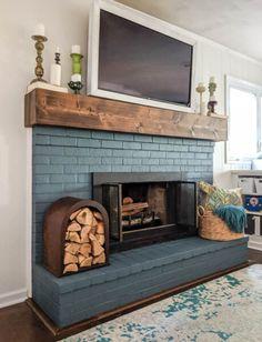 Brick Fireplace Wall, Painted Brick Fireplaces, Brick Fireplace Makeover, Old Fireplace, Fireplace Design, Brick Fireplace Remodel, Painting A Fireplace, How To Paint Fireplace, How To Paint Brick