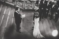 nighttime wedding ceremony - photo by Suzuran Photography http://ruffledblog.com/new-years-eve-cleveland-wedding