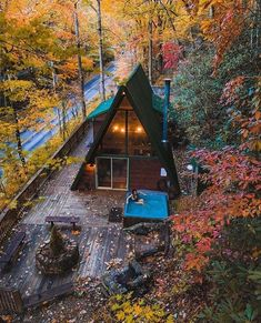 A Frame Cabin, A Frame House, Cabins In The Woods, House In The Woods, Cabana, Bungalow, Design Exterior, Autumn Cozy, Cabins And Cottages