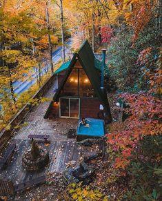 A Frame Cabin, A Frame House, Tiny House Cabin, Tiny House Living, Tiny Houses, Cabin Design, Tiny House Design, Cabana, Bungalow