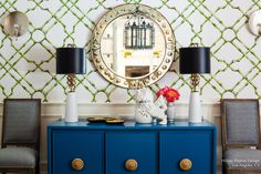 Creative Tonic loves Paint Buffet, Wallpaper, Upholstered Chairs, Lamps + Mirror