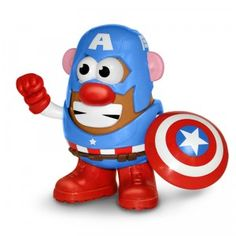 Mr. Potato Head Captain America wields the superhero's shield and comes with Captain America's mask, two arms, and a three-piece suit.