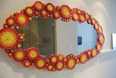 Adoro Artesanato: Molduras de espelhos feitas com jornal.