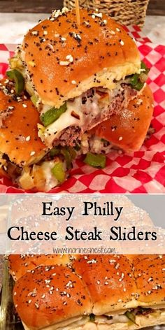 Easy Philly Cheesesteak Sliders Dinner rolls are stuffed with Tender Roast Beef, topped with melted provolone cheese, sauteed veggies, and topped with soft toasted buttery rolls brushed with Everything Bagel topping. Steak Sandwich Recipes, Soup And Sandwich, Appetizer Recipes, Dinner Recipes, Appetizers, Philly Cheese Steak Sliders, Roast Beef Sliders, Cheeseburger Sliders, Slider Sandwiches