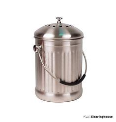 Kitchen Compost Bin Countertop Stainless Steel Counter Bucket Trash Can Pail  #KitchenCompostBin