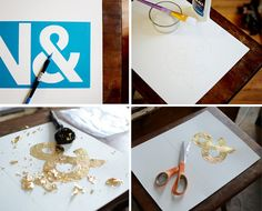How to gold-leaf stencil Leaf Projects, Diy Projects, Diy Arts And Crafts, Diy Crafts, Leaf Stencil, Gold Leaf Art, Foil Art, Gold Diy, Diy On A Budget