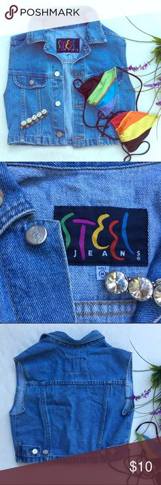 Vintage Cropped jean jacket Size M girls fits like XS women's. Wear open or party buttoned  over bandeau to show off mid drift. Circa mid 90's Jackets & Coats Jean Jackets