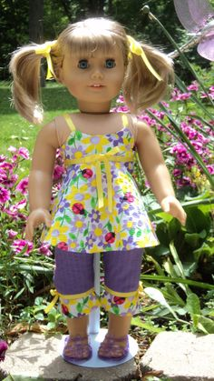 American Girl doll clothes  Yellow/Purple Capri by susiestitchit, $18.00
