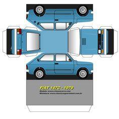 Papercraft Recortable De Un Auto Fiat 147c De 1979 Azul En 2020