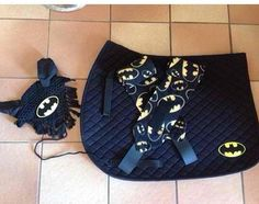 OMG! Batman saddle pad, polo wraps, and ear net set!!! I need this!!!