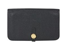 Black Hermes Dogon Leather Wallet