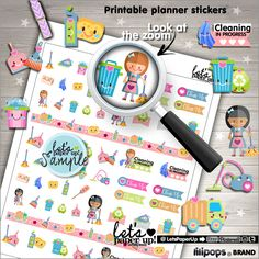 Clean Up Stickers, Printable Planner Stickers, CleanUp Stickers, Kawaii Stickers, Erin Condren, Chore Stickers, Cleaning Stickers, Clean