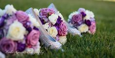Wedding photography-St. Louis. Purple, plum, and lilac wedding bouquet. Wedding flowers. Silver wedding shoes.