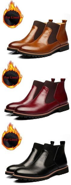 962724c9c599a Men Vintage Pointed Toe Hollow Out Genuine Leather Elastic Panels Boots is  fashionable