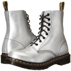 Dr. Martens Pascal 8-Eye Boot (Silver Alumix) Women's Lace-up Boots ($93) ❤ liked on Polyvore featuring shoes, boots, ankle boots, silver, lace up boots, laced up ankle boots, silver boots, lace up bootie and silver ankle boots